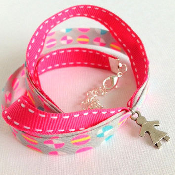 Children Wrap Bracelet with Little Girl Charm - Fabric Imported from Paris - Oh so French