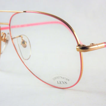 Bubblegum Pink Aviators, Unisex Big Eyeglasses Mens or Womens Pink and Gold Glasses, Vintage Frames, New Old Stock Metal Frames