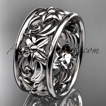 platinum leaf and vine wedding band, engagement ring ADLR150G