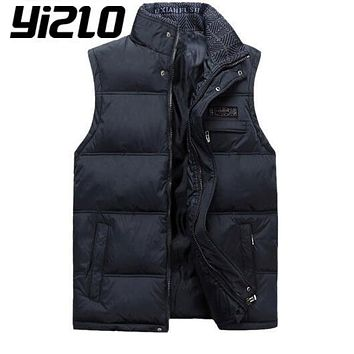 YIZLO New 2017Autumn Winter Men Casual Down Vests Middle Aged Male Stand Collar Plus Size Down Waistcoats Sleeveless Jackets