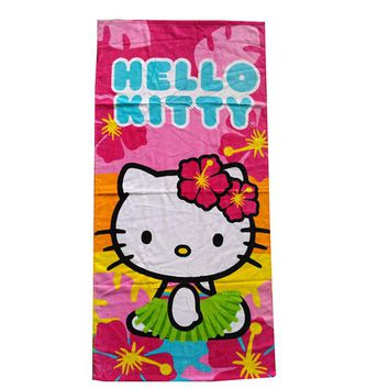 Baby Girls Hello Kitty Bath Towel/Kids Cartoon KT Beach Towel/Children Cotton Toalha de Praia Cartoon Washcloth Dry Towel