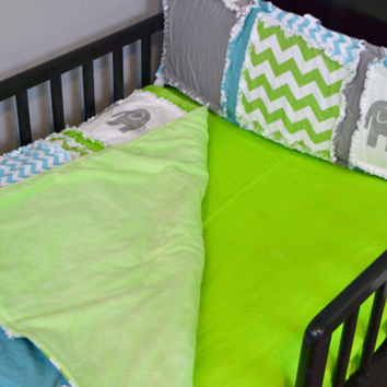 Custom Lime Green Fitted Crib Sheet for Toddler Bed or Baby Crib in Cotton Fabric, Made to Order