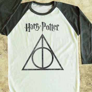 Harry Potter tshirt Deathly Hallows tshirt women tshirt men tshirt raglan tee baseball shirt 3/4 long sleeve t shirt size S M L