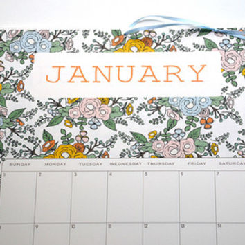2017 Wall Calendar 5.5x8.5 inches featuring 12 different floral pattern illustrations in Green, Mustard, Peach, Coral, Orange, Pink and Mint