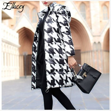 Ellacey New 2016 Winter Coats Black White Houndstooth White Duck Down Outwear Warm Slim Lady Hooded Long Down Parkas Plus Size