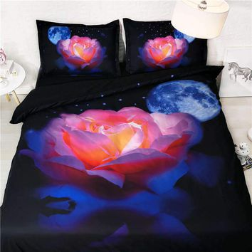 flower bedding sets king size adult galaxy duvet cover high quality 3D bed linens colorful rose home textile luxury 3pcs