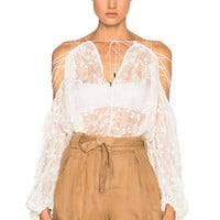 Zimmermann Eden Laced Top in Natural | FWRD