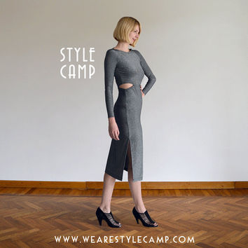 Metallic Clara Vampy Maxi Dress with Cut Outs in Silver