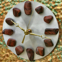 Brushed Recycled Aluminum Clock with Red Tiger's Eye, Unique Home Decor, Office Decor, Metaphysical