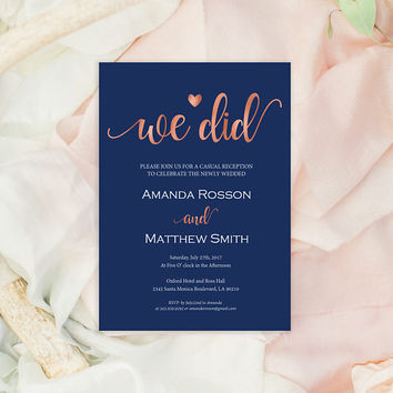 Elopement Announcement Printable - We Did - Navy and rose gold - PDF Wedding Invitation - Downloadable wedding #WDH812262