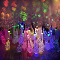 LED SopoTek Solar Christmas Lights 19.7ft 6m 30 LED 2 Modes Crystal Water Drop Solar Fairy String Lights for Outdoor, Gardens, Homes, Wedding, Christmas Party, Waterproof (30 LED Multi color)
