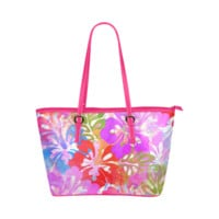 Hibiscius Flower Dreams Leather Tote Bag/Large (Model 1651) | ID: D461494