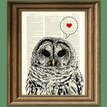 Barred VALENTINE OWL with heart print over an upcycled vintage dictionary page book art