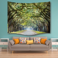 Oak Tree Wall Tapestry Wall Hanging Sandy Beach Towels Yoga Mat Picnic Blanket Throw Rug Rectangle Wall Carpet Polyester America