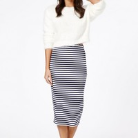 Missguided - Maryha Striped Midi Skirt