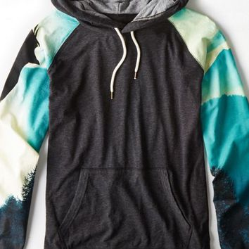 AEO Men's Photo Real Hoodie T-shirt (Bold Black)
