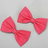 Hot Pink Polka Dot Hair Bows