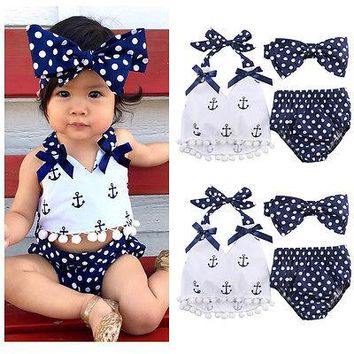 3pcs Baby Girl Clothes Set Baby Anchor Tops+Polka Dots Briefs Summer Outfits Set Sunsuit Costume