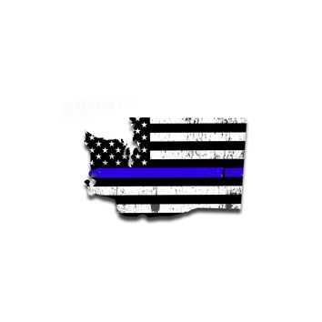 Washington Island Distressed Subdued US Flag Thin Blue Line/Thin Red Line/Thin Green Line Sticker. Support Police/Firefighters/Military