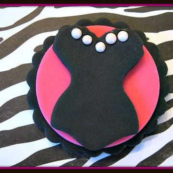 Sassy Black & Hot Pink Corset for Bachelorette, Girls night out or Wedding Showers. Fondant Cupcake Toppers. Set of 12 (1 dozen)
