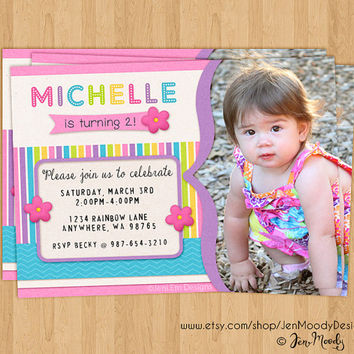 Rainbow Birthday Invite, Party Invitation with Photo - Printable, Digital, Custom, Rainbow, Flower, Stripes, Picture, Pink