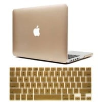 Iwotou Gold Frost Surface Hard Shell Case Cover With Silicone Skin Protective Keyboard Film Cover For 13-Inch A1278 Aluminum Unibody MacBook Pro (Gold)