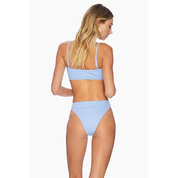 Ruby Stretch Fit Bikini Bottom - Blue Texture