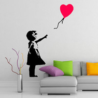 Girl with Heart Balloon by Banksy Street Art Vinyl Wall Sticker, Home Art Decor Removable Decal, DIY Mural for office, home, room, apartment