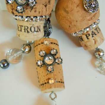 Wine Cork Ornament, Altered Cork Ornament, Rhinestone Beaded Ornament, Decoration, Sun Catcher, Icicle Ornament, Recycled Christmas Ornament