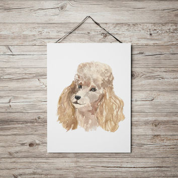 Poodle poster Watercolor dog print Cute nursery decor ACW109