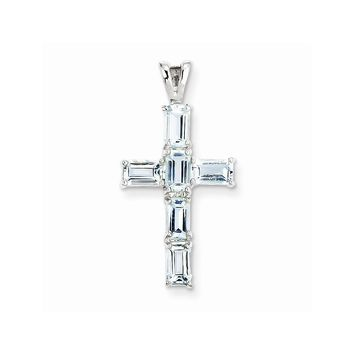 Sterling Silver Rhodium Plated Aquamarine Cross Pendant