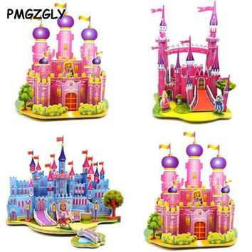 3D Puzzle kids Paper Model World Architecture House Cartoon image ship castle Educational Toys for Children Models Building Toy