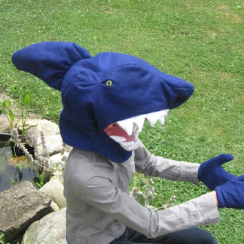 One size fits most Shark Head Costume with gloves