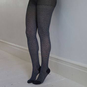 Grey/Ivory Chevron Tights   Print & Patterned Tights   Playful Sophisticated Legwear at Between the Sheets