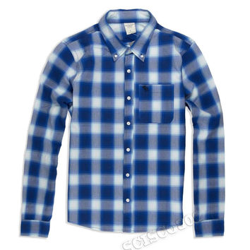 Abercrombie & Fitch Button Down Muscle Fit Long Sleeve Shirt Blue Plaid