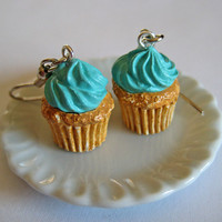Vanilla Cupcake Earrings  Miniature Food Jewelry  by Artwonders
