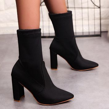 Women Simple Fashion Pointed-toe Rough Heel Short Boots Heels Shoes