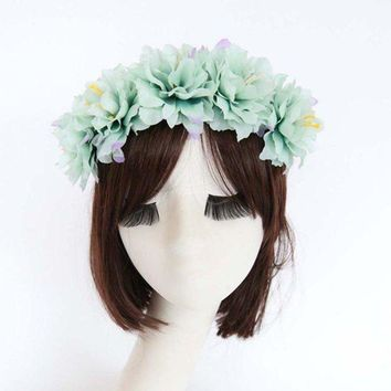 CREYN3C Rose Flower Crown Headband Hair Garland Bride Wedding Headwear Beach Accessories