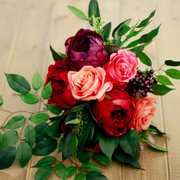 Plum and Burgundy Silk Bridal Bouquet
