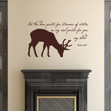 Vinyl Wall Decal Deer with Bible Scripture Verse Psalm 42 Vinyl Decal 22523