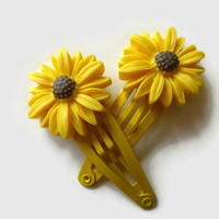 Daisy Hair Clips - Fall Flower Hair Clip - Autumn Hair Clips - Yellow Snap Clip Barrettes - Hair Clips for Fall - Toddler Barrette