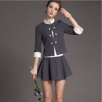Block Patterned Button Sleeve Shirt With Paired Mini Skirt