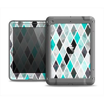 The Graytone Diamond Pattern with Teal Highlights Apple iPad Mini LifeProof Fre Case Skin Set