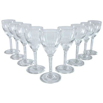 Pre-owned Vintage Stemmed Cordial Glasses - Set of 9