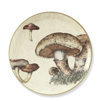 Harvest Botanical Dinner Plates, Set of 2, Mushroom