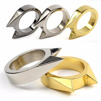 1Pcs Women Men Safety Survival Ring Tool EDC Self Defence Stainless Steel Ring Finger Defense Ring Tool Silver Gold Black Color