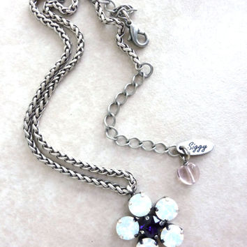 Swarovski crystal pendant necklace, Crystal flower pendant, white opal and purple, GREAT PRICE, siggy designed