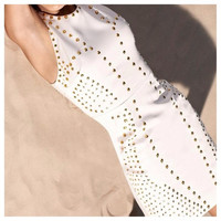 Gold Studded White Bodycon Dress