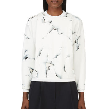 3.1 Phillip Lim White And Blue Folded Off The Wall Sweatshirt