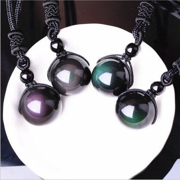 Necklaces & Pendants Natural Stone For Women Men Black Obsidian Rainbow Eye Beads Ball Transfer Good Lucky Love Energy Gift Z870